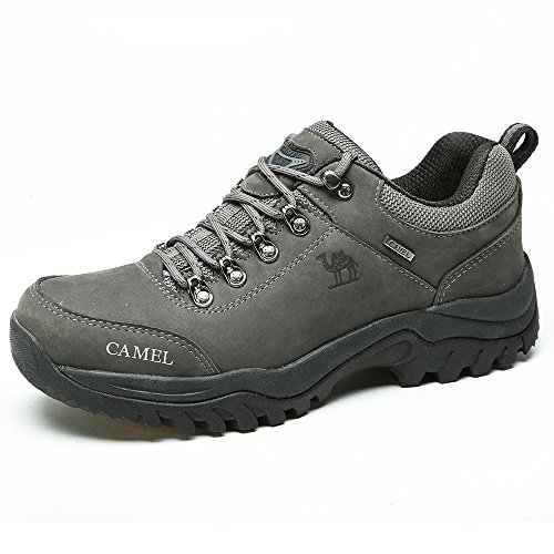 CAMEL Men's Hiking Shoes Leather Non Slip Walking Sneakers for Outdoor Casual Trekking Grey 9.0 US-270mm-10.63inch (Wide Hiking Width Shoes)