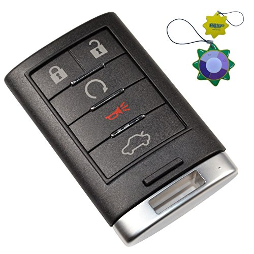 HQRP Remote Key Fob Shell Case Keyless Entry w/ 5 Buttons for Cadillac DTS STS 2008 2009 2010 2011 2012 2013 Plus HQRP UV Meter