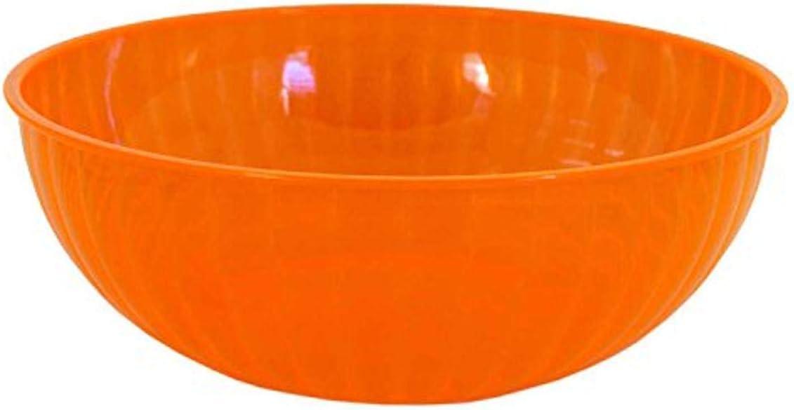 Party Essentials N926855 Hard Plastic 192-Ounce Serving Bowl Neon Orange