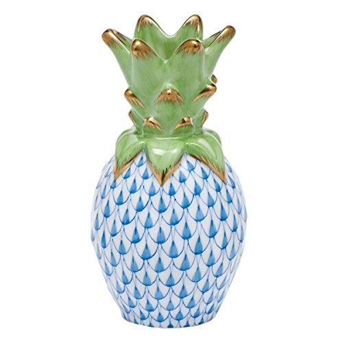 Herend Pineapple Figurine Blue Fishnet (Topped Fishnet)