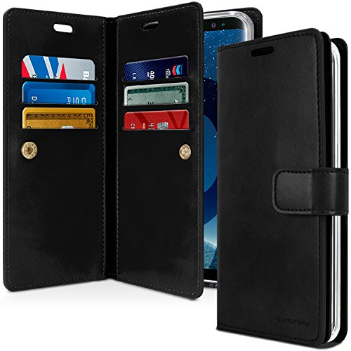 GOOSPERY Galaxy S9+ Plus Case for Samsung Galaxy S9+ Plus, [Extra Card & Cash Slots] Mansoor Diary [Double Sided Wallet Case] Premium PU Leather Flip Cover [Drop Protection] (Black) S9P-Man-BLK