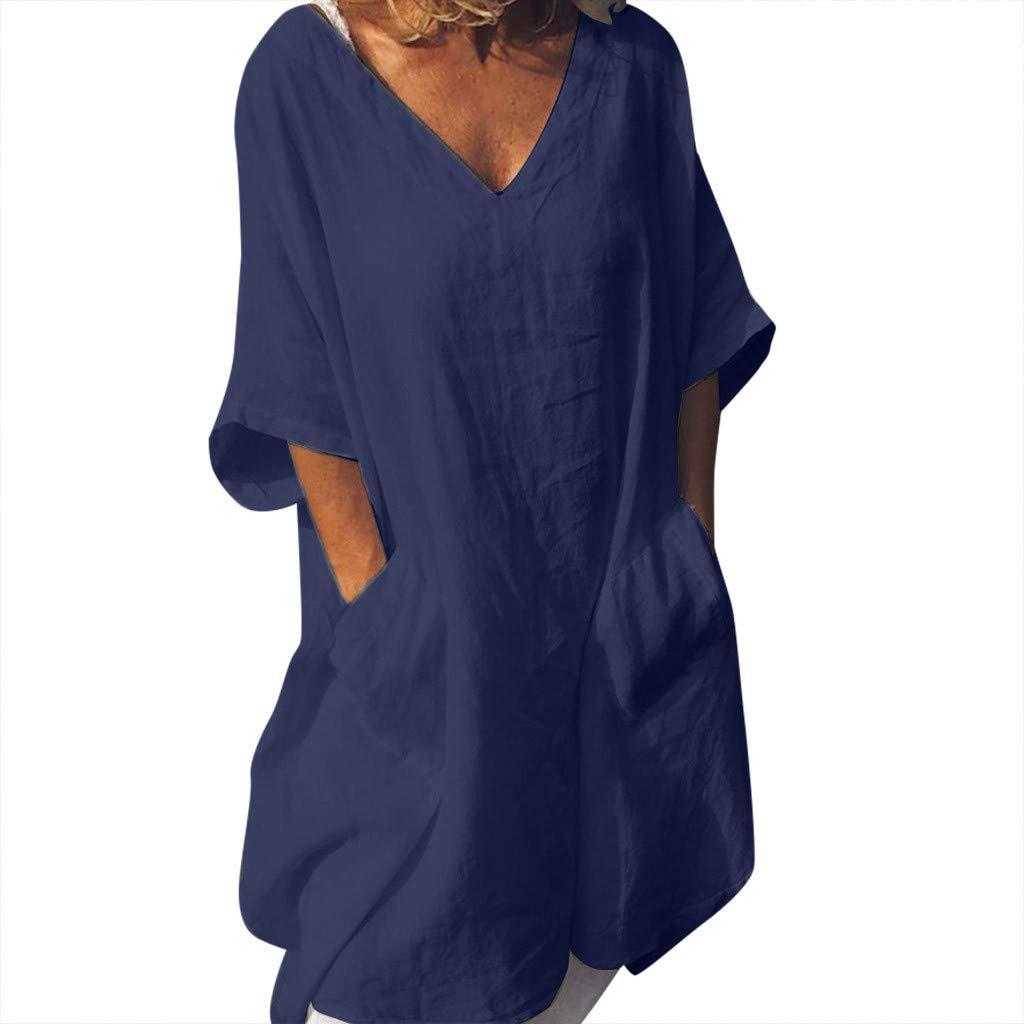 Women's Linen Dresses Plus Size 3/4 Sleeve Loose V Neck Blouse Top Soild Tops Dress Sundress with Pockets (Navy,L) by Amacok