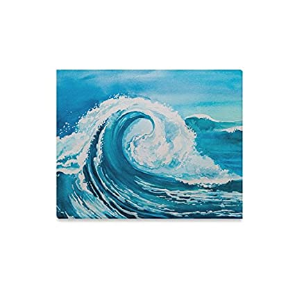 Amazon Com Interestprint Watercolor Blue Sea Water Wave Wall Art