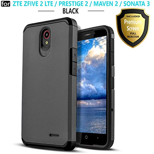 ZTE Maven 3 Phone Case, ZTE ZFIVE 2 CASE, ZTE Prestige 2 Case, ZTE Maven 2 Case, ZTE Sonata 3 Case, Starshop Hybrid Rugged Impact Advanced Armor Phone Cover With [HD Screen Protector] (Black)
