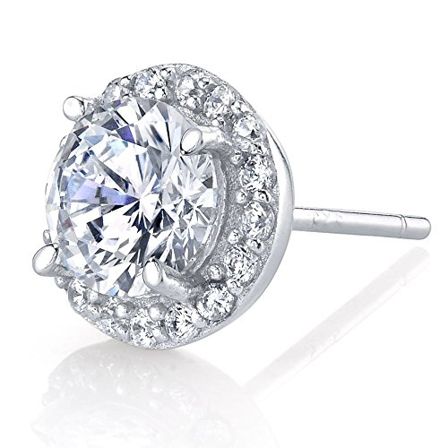 2 Carat Sterling Silver Stud Earrings set with micro pave brilliant cut cubic zirconia diamond CZs -