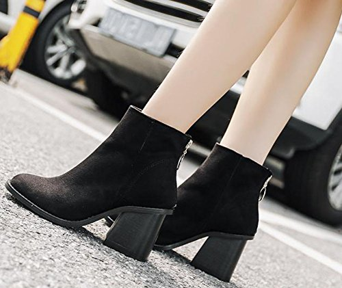 Easemax Women's Sweet Faux Suede Round Toe Block High Heel Short Ankle Boots With Zipper Black Zfs7kXlbsZ