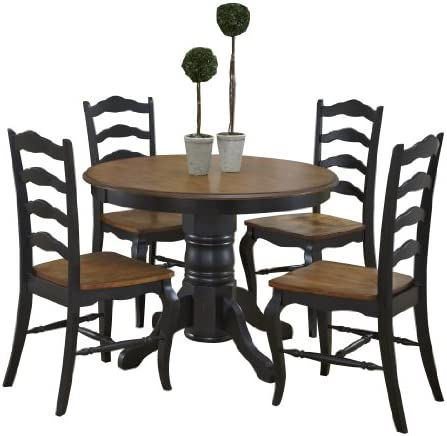 French Countryside Black Oak 42 Round Pedestal Dining Table with 4 Chairs by Home Styles