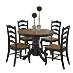 """French Countryside Black/Oak 42"""" Round Pedestal Dining Table with 4 Chairs by Home Styles"""