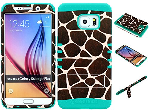 Galaxy S6 Edge Plus Case, Wireless Fones TM Kickstand Tough Armor Cover Giraffe Animal Print Snap on Over Teal Skin for Galaxy S6 Edge Plus (Koolkase Samsung Galaxy S4 Case)