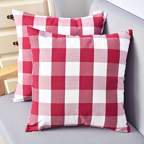Valentines Day Natus Weaver Red White Christmas Buffalo Checkers Plaids Linen Throw Pillow Cover Decorative Cushion Shams Pillowcase Case for Sofa 18 x 18, 2 Packs ()