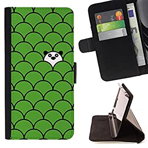 BullDog Case - FOR/Samsung Galaxy S4 IV I9500 / - / scale pattern panda cute green sweet /- Monedero de cuero de la PU Llevar cubierta de la caja con el ID Credit Card Slots Flip funda de cuer