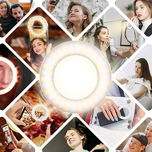 Meifigno Upgraded Selfie Ring Light [3 Light Modes] [Rechargeable], Adjustable Brightness Clip on Laptop/iPhone/iPad, LED Circle Light for Video Conferencing/Zoom Meeting/YouTube Live Stream Makeup