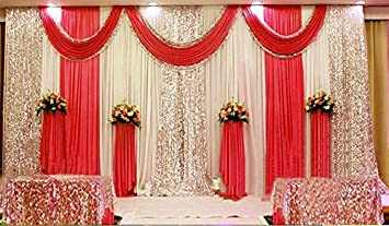 Amazon wedding stage decorations backdrop party drapes with wedding stage decorations backdrop party drapes with swag silk fabric curtain bright red junglespirit Gallery