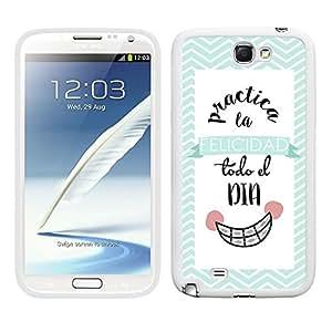 Funda carcasa TPU Gel para Samsung Galaxy Note 2 diseño ilustración frase practica la felicidad todo el día borde blanco