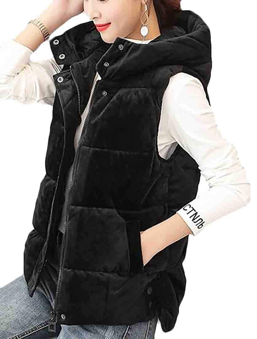 X-Future Womens Velvet Waistcoat Hooded Quilted Thick Puffer Down Vest Jacket
