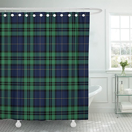 VaryHome Shower Curtain Tartan Black Watch Plaid Bias Christmas Waterproof Polyester Fabric 72 x 72 inches Set with ()