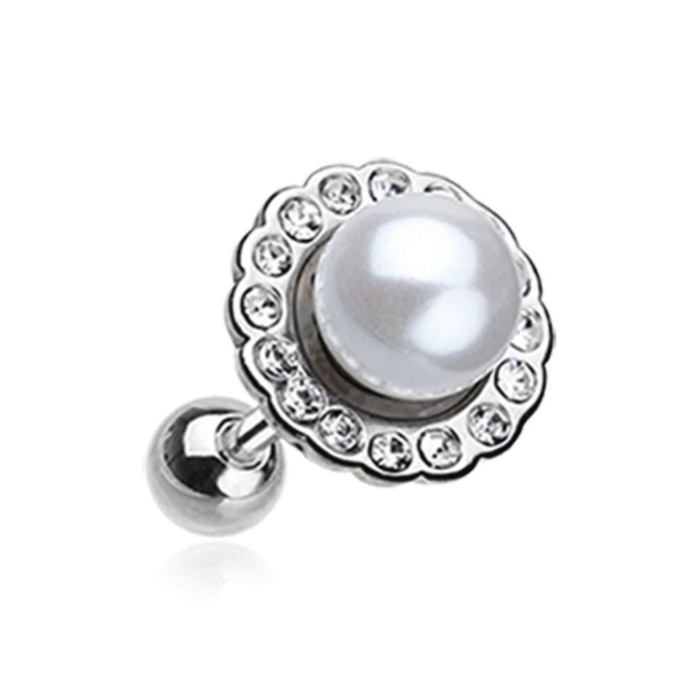 Pearl Blossom Sparkle WildKlass Cartilage Tragus Earring