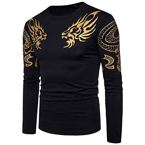 - Cottory Men's Hip Hop Dragon Totem HotStamping T-Shirt Black Large