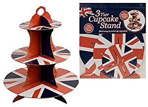 Union Jack 3 Tier Cupcake Stand - Ideal For The Queen's Diamond Jubilee by PartyExplosion