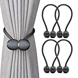 curtain tie back ideas  Magnetic Curtain Tiebacks,The Most Convenient Drape Tie Backs,Decorative Rope Holdback Holder for Big,Wide or Thick Window Drapries,4 Pack(16 Inch Long),Dark Grey