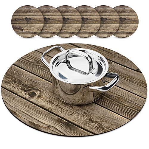 Trivetrunner:Decorative Trivet and Kitchen Table cover Handles Heat Up to 300 F Protects Countertops and Surfaces from Hot Plates, Pots and Dishware (Wood Round with coasters set)
