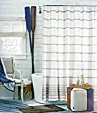 Tommy Hilfiger Fabric Shower Curtain Light Gray Stripes on White -- Baja Signature Stripe