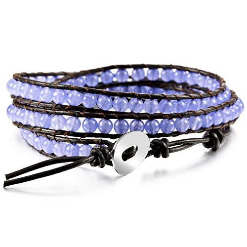 (MOWOM Purple Alloy Genuine Leather Bracelet Bangle Cuff Rope Simulated Crystal Bead 3 Wrap Adjustable)