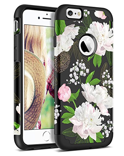 BENTOBEN Case for iPhone 6 / iPhone 6S, Dual Layer Hybrid Heavy Duty Soft Silicone Hard PC Floral Shockproof Protective Phone Case Peony Flowers Girls Women Cover for Apple iPhone 6 / 6S (4.7 Inch)