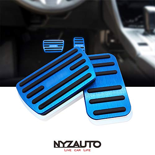 NYZAUTO Anti-Slip Performance Foot Pedal Pads for Honda 10th Civic,Auto No Drilling Aluminum Brake and Accelerator Pedal Covers Blue