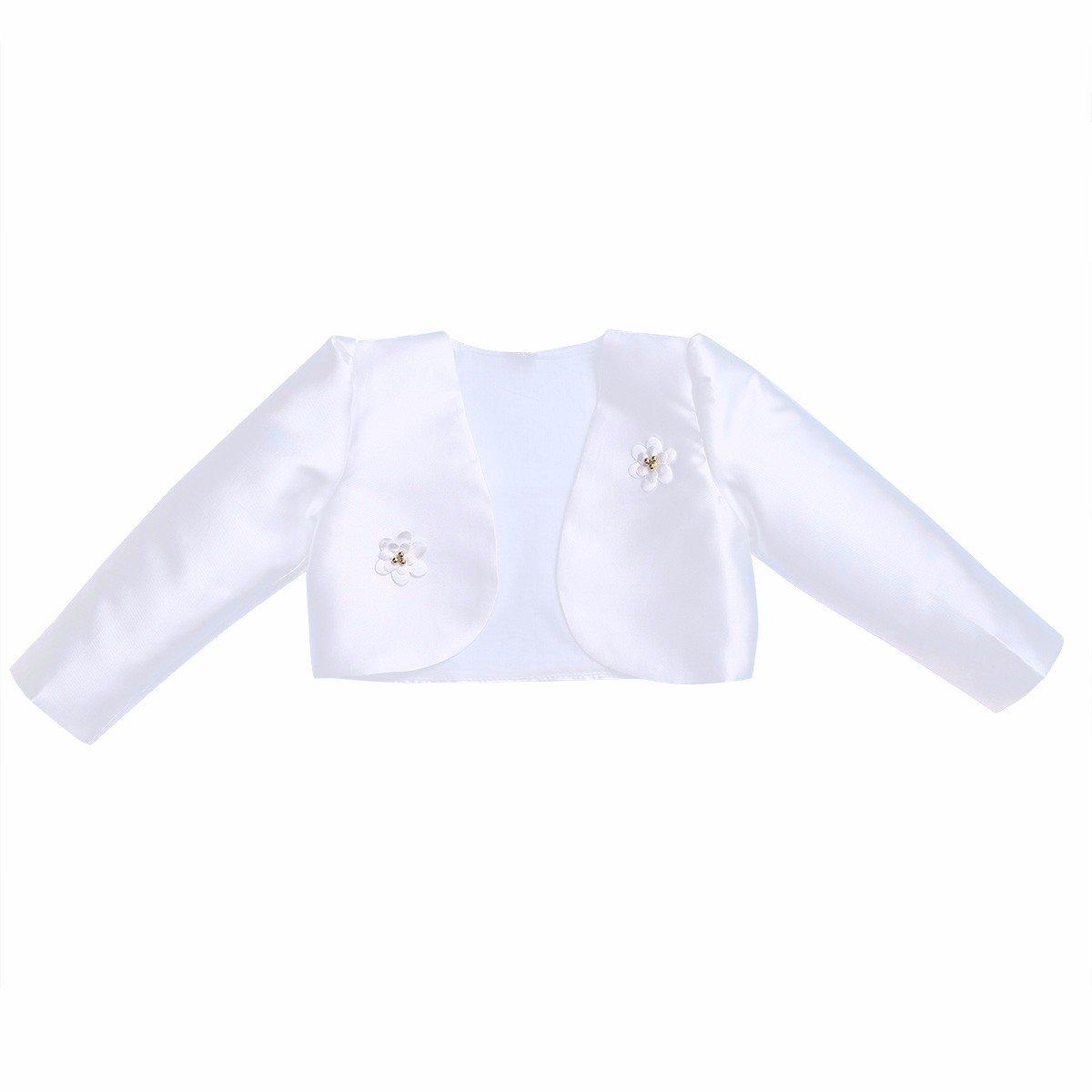 iEFiEL Kids Girls Beaded Bolero Wedding Flower Dress Jacket Shrug Short Cardigan White 10.12