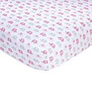 Carter's Pink Elephant Print Cotton Sateen Crib Sheet - 52  x 28
