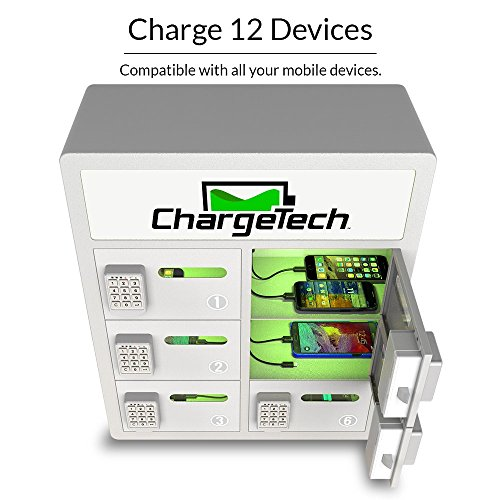 Secure Cell Phone Charging Locker w/ 6 Digital Combination Locking Bays & Universal Charging Tips Included for All Devices - By ChargeTech - (Model: PL6) [Black] by ChargeTech (Image #2)