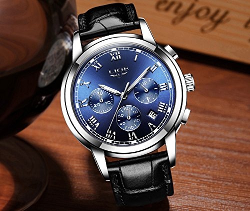 Watch Men Leather Strap Watches Men's Chronograph Waterproof Sport Date Quartz Wrist Watch Blue by LIGE (Image #1)