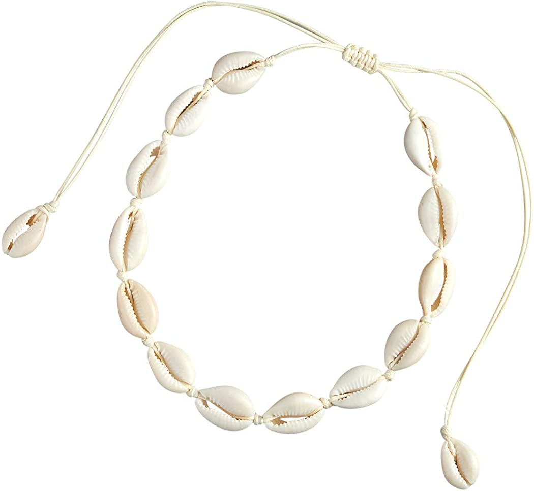 SXNK7 Natural Shell Necklace Choker for Women Girl Bead Pearl Handmade Hawaii Wakiki Beach Rope Jewelry