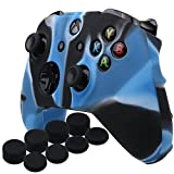 YoRHa Silicone Cover Skin Case for Microsoft Xbox One S controller x 1(camouflage blue) With Pro thumb grips 8 pieces