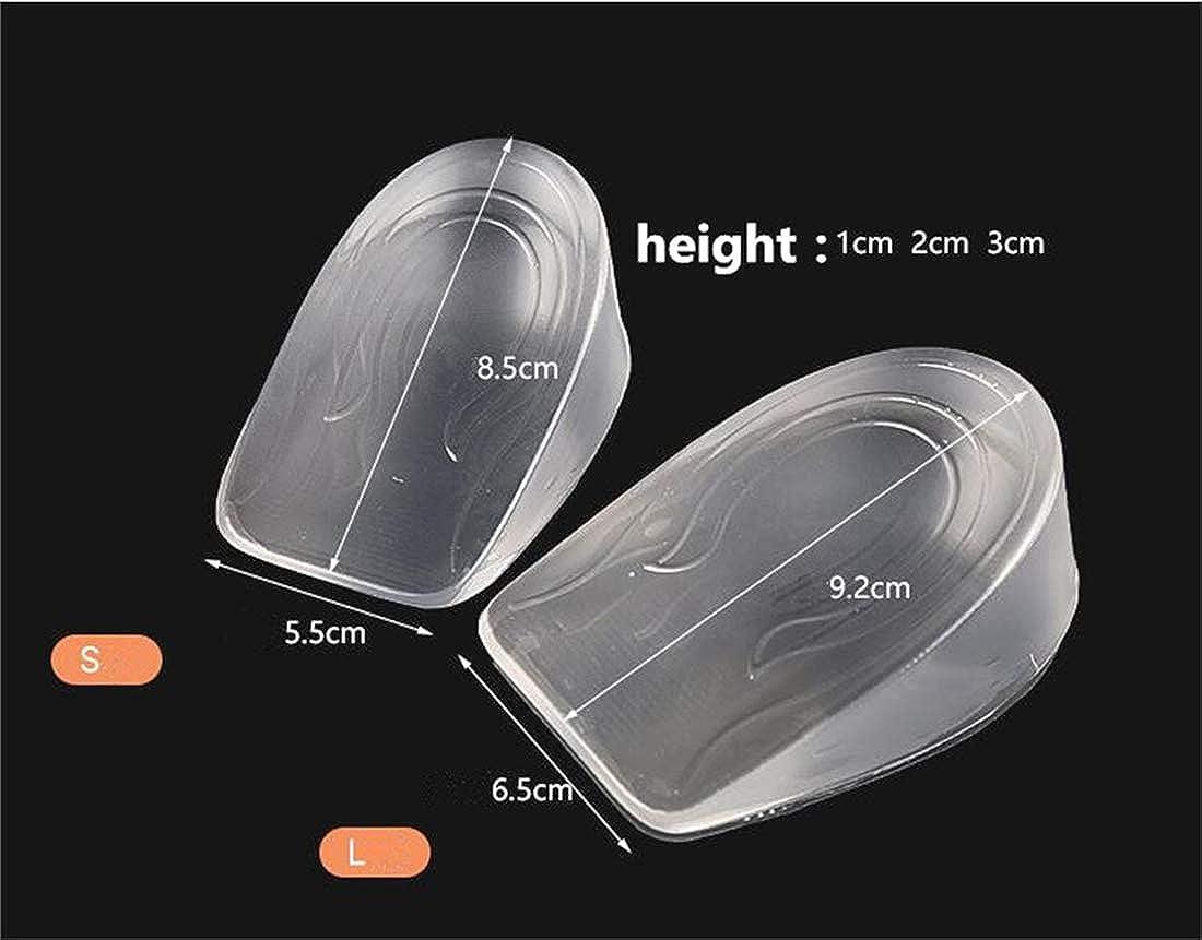 Addfect Demi Semelles Gel Transparent Talon Ascenseur Semelle /Élastique Antichoc Doux Confort pour Hommes Femmes,Ascenseur 1-3CM