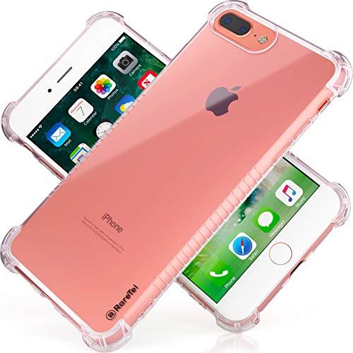 RareTel Clear Transparent Case iPhone 7 Plus iPhone 8 Plus - Protective Builtin No Slip Grips - Four Corner Air Bags On Ultra Thin Shock Absorption Soft TPU Slim Bumper Design Cover