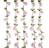 UUPP 2Pcs 7.2FT Artificial Cherry Blossom Flower Garland Silk Fake Flower Hanging Vine for Home Hotel Office Garden Wedding Party Outside Decoration, Light Pink