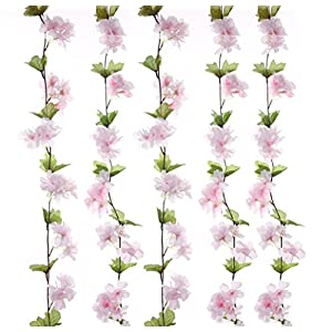 UUPP 2Pcs 7.2FT Artificial Cherry Blossom Flower Garland Silk Fake Flower Hanging Vine for Home Hotel Office Garden Wedding Party Outside Decoration 72
