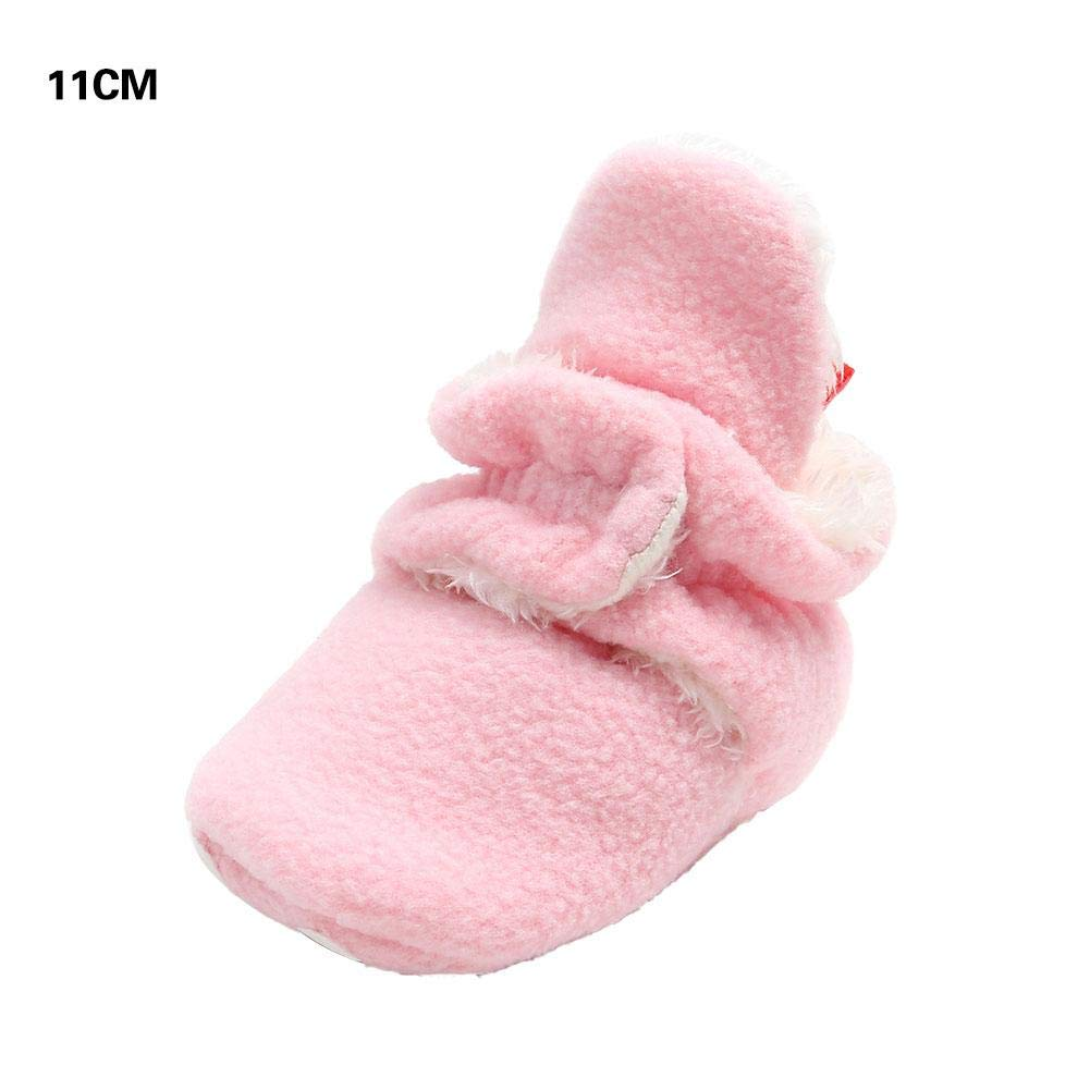 Newborn Baby Boys Girls Cotton Shoes Cozy Fleece Booties Non Skid Buckle Shoes