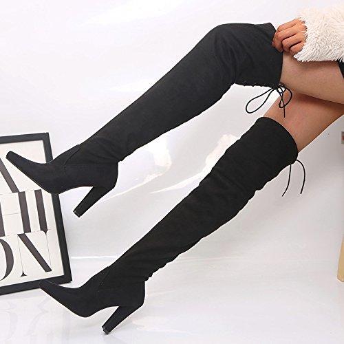 Et D'hiver Lhwy D'automne En Femmes Gommage Noir À Épaisses De Pointues Élastiques Talons Cuir Chaussures Bottes Internes Hauts Femme rYOr0n8