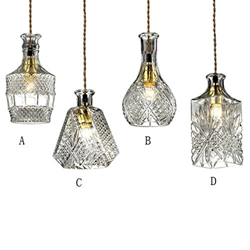 JiaYouJia Vintage Decanter Bottle Pendant Light with Adjustable Cable, Size D Clear