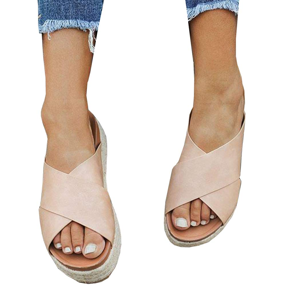 Seraih Womens Platform Espadrille Sandals Slip On Flat Summer Causal Shoes