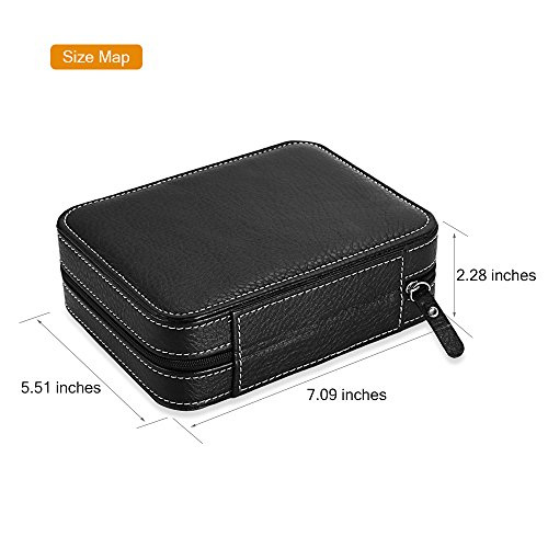 EleLight 4 Grids Watch Storage Display Box, Portable Travel Leather Watch Collector Storage Case for Men & Women as A Gift (Black) by EleLight (Image #3)