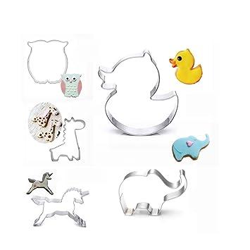 FOVIUPET - Molde de acero inoxidable para galletas y pasteles, diseño de búho de unicornio: Amazon.es: Hogar