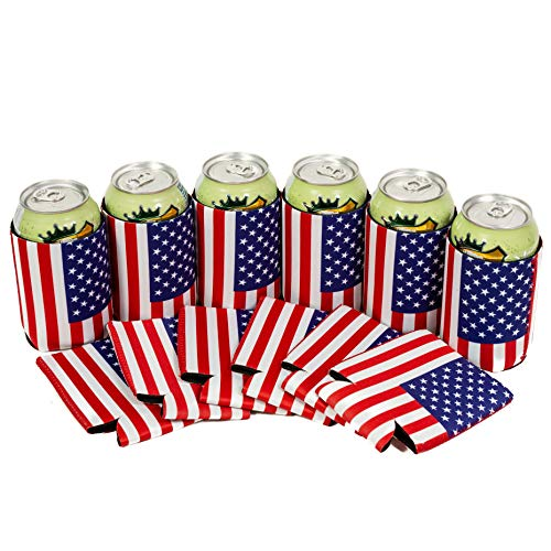 QualityPerfection - 12 USA American Flag Neoprene Beer Can Cooler Sleeve Collapsible Coolie,Economy Bulk Insulation with Stitches .Perfect 4 Events,Custom DIY Projects,Gift,Party Supply(12, USA Flag) ()