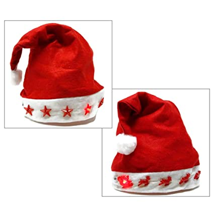 388f075ea8f58f Image Unavailable. Image not available for. Color: EverBright Light Up Red  Felt Santa Hat