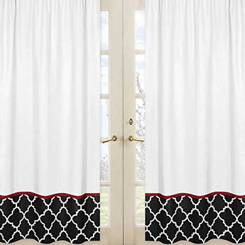 Sweet Jojo Designs 2-Piece Red, Black and White Trellis Print Collection Lattice Window Treatment Panels
