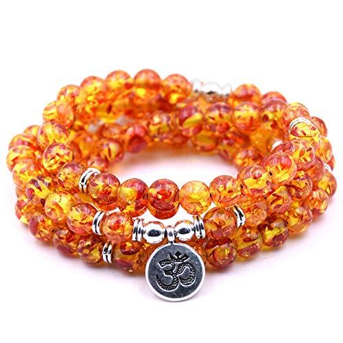 Summer Win 8mm 108 Amazonite Mala Beads Yoga Necklace Bracelet for Men Women for Yoga Buddhist Rosary Prayer Natural Gemstone Agate Jade -