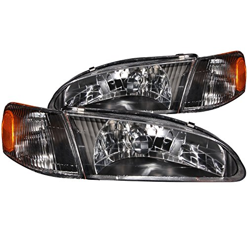 Anzo USA 121131 Toyota Corolla Crystal Black Headlight Assembly - (Sold in - Headlights Crystal 98 Anzo